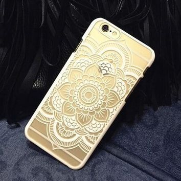 Plastic iPhone 6 Case, Clear iPhone 6 plus Cover with  Lace Print, Bohemian Phone Cover, Mandala Print Cover, Henna Case, Ethnic iPhone Case [8295697799]