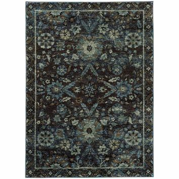 Andorra Navy Blue Oriental Overdyed Traditional Rug