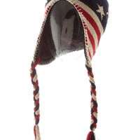 Winter Hat American Flag Beanie Boho Cap Pom Pom Cap Stars Hat Stocking Stuffer - By PiYOYO