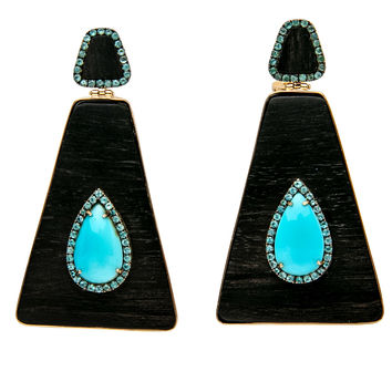 Ebony and Turquoise Double Drop Earrings