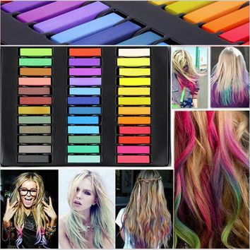 Free Shipping 36 Color Hair Dye Easy Temporary Colors Non-toxic Hair Chalk Soft Pastels Kit Hair Chalk Crayons for Hair