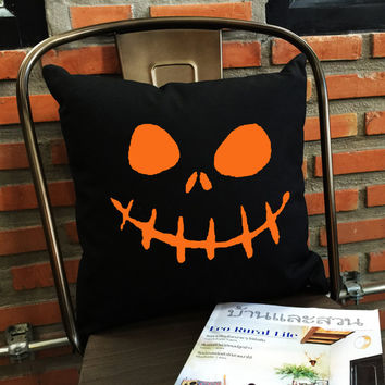 Jack o Lantern Throw Pillow, Halloween Throw Pillow, Funny Gifts, Funny pillow, pumpkin pillow cover