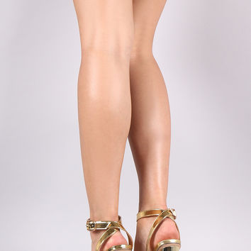 Metallic Ankle Strap Chunky Heel