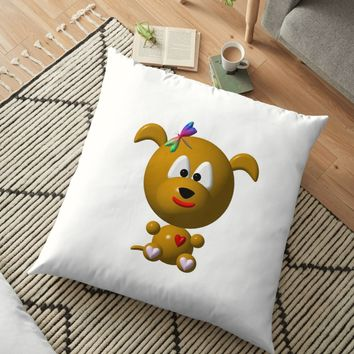 'Cute dog with a dragonfly' Floor Pillow by Artist4God