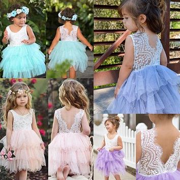 Cute Kid Baby Girl Lace Tulle Tutu Dress Party Pageant Wedding Princess Sleeveless Ruffle Gown Sundress