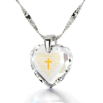 """""""The Lord's Prayer"""" KJ Version, 925 Sterling Silver Necklace, Cubic Zirconia"""