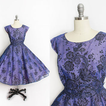 Vintage 1950s Dress - Blue Chiffon Flocked Lace Print Glitter Full Circle Skirt Party Cocktail 50s - Large L