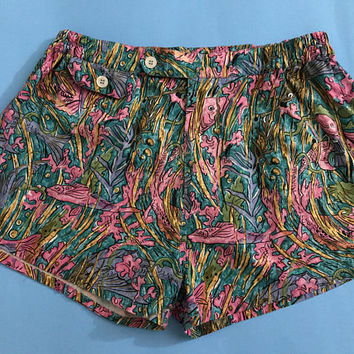 Vtg HOLLIDAY & BROWN LONDON Designer Swim Trunks / Colorful Tropical Fish Print Mens Summer Shorts / Prada Italy High End Luxury Menswear