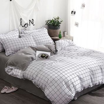 Allover Grid Duvet Cover -SheIn(Sheinside)