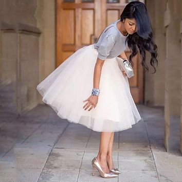 Party Train Puffy 5Layer 60CM Fashion Women Tulle Skirt Tutu Wedding Bridal Bridesmaid Overskirt Petticoat Lolita Saia 2019