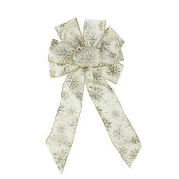 """8"""" x 16"""" Ivory with Champagne Gold Sparkling Snowflakes 6 Loop Bow Decoration"""