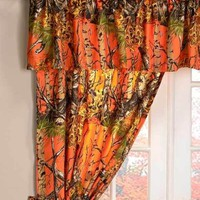 The Woods® 5-Pc.Orange Camouflage Window Curtain Set Bedroom Cabin Home Decor