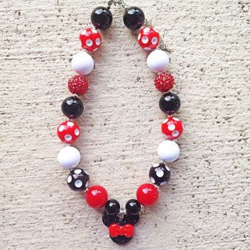 Red and Black Minnie Mouse Chunky Necklace - Minnie Mouse Necklace- Bubblegum Necklace - Baby Necklace- Toddler Necklace- Girl Necklace