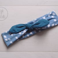Steel Blue Headband with BLUE Bow Headband Knot Toddler Headband Head Wrap Baby Bow Headband Newborn Knot Headband
