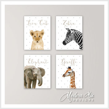 Animal Wall Art Baby Wall Art Gift Wall Art Nursery Decor Safari Wall Art Baby Elephant Art Lion Zebra Giraffe Quad Set of 4 prints BA 0