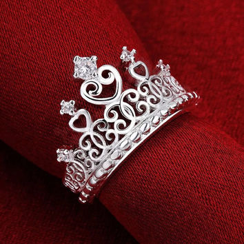 Princess Crown Ring Sterling Silver Ring Promise Ring CZ Ring Cubic Zirconia Ring Crown Ring Engagement Ring Wedding Ring Princess Ring