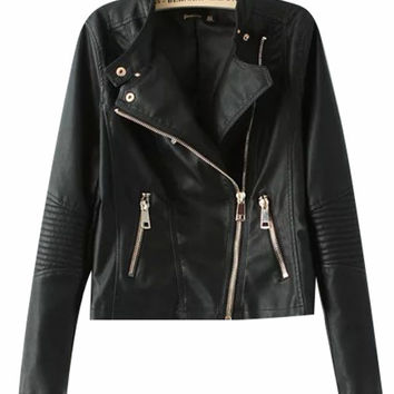Standing Collar Long Sleeves Faux Leather Coat With Zipper