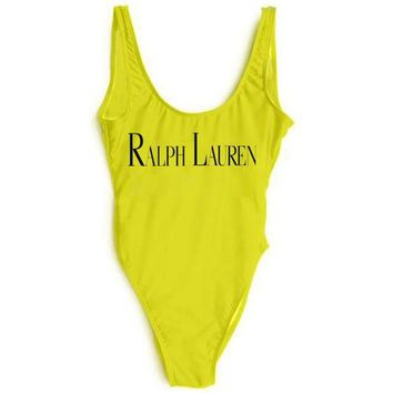 Ralph lauren New Fashion Black Letter Print Swimsuit One Piece Bikini Suit Yellow