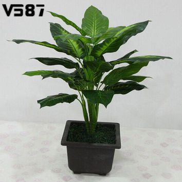 VONE2B5 Large 50CM Evergreen Artificial Plant 25 Leaves Lifelike Bush Potted Plants Plastic Green Tree Home Garden Office Decoration