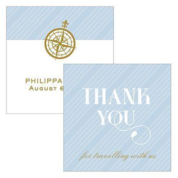 Vintage Travel Square Favor Tag - Thank You Pastel Blue (Pack of 1)
