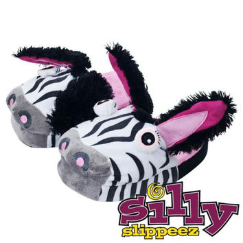 Silly Slippeez - Zanny Zebra - Glow in the Dark - Medium
