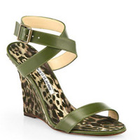 Manolo Blahnik Lecara Leopard-Print Satin & Leather Sandals in Multi - Avenue K
