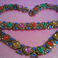 Vintage Bejeweled Red Green Blue Pink Gold Rhinestone Necklace Bracelet Set - Retro 1970's 1980's- High End Hard To Find Jewelry