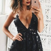 Sexy Backless V Neck Sequined Lace Romper
