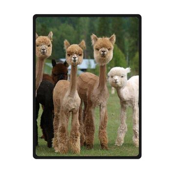 Personalize Soft Throw Blanket Custom Attractive Funny Alpaca Baby Fleece Blanket Travel Blanket Size 150x200cm