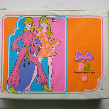 Vintage 1971 Barbie and P.J. Sleep n' Keep Double Doll Case HTF Mattel MOD Era Bedroom Doll Case Used Stock 5151 Vinyl Canada Version