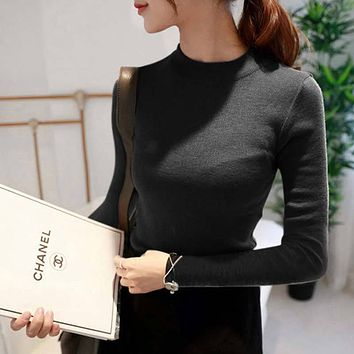 Women Sweater 100% cotton Knitted Sweater Winter Turtleneck Warm Sweaters for Ladies Pullover Hot Sale sweater