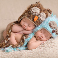 Crochet Fuzzy Baby Owl Hat, Multiple Sizes, Newborn Owl Photo Prop,  Twins Photo Prop, Twin Set Fuzzy Owl Hats, Baby Blue Fuzzy Owl Hat