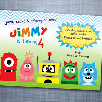 Yo Gabba Gabba Colorful Chevron, Birthday Party, Invitation Card Design