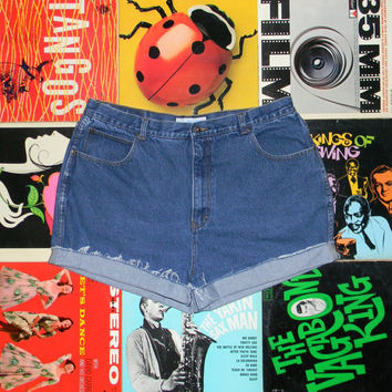 Vintage Denim Shorts, 80s LA BLUES High Waisted Stone Washed Jean Cut Offs, Cut Off, Frayed, Rolled Up, Plus Size 16 18 ooak, Plus Sized XXL