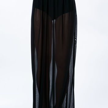 So Transparent Sheer Mesh Maxi Skirt