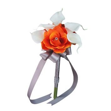 """7.5"""" Bouquet - Three Rose 5 Calla Lily Hand-Tied Bouquet- *Pick Rose and Ribbon Color*"""