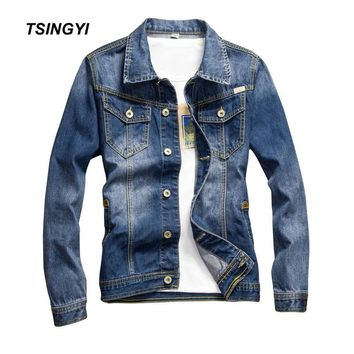 Trendy Tsingyi Vintage Whiten and Patch Leather Denim Jacket Men Blue Slim Fit Turn-down Collar Long Sleeve Denim Bomber Mens Coats AT_94_13