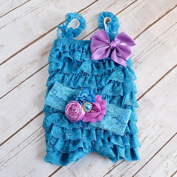 Turquoise Romper and Headband, Cake Smash Outfit Girls, 1st Birthday Girl Outfit, 2nd Birthday Outfit Girl, Baby Girl. Cake Smash Outfit