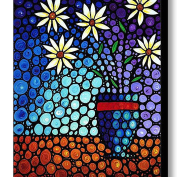 Beautiful Floral Flower Art Print from Painting Flowers Blue Purple White CANVAS Ready To Hang Large Artwork Mosaic Stained Glass Look Art