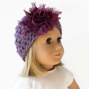 Doll Hat, 18 Inch Doll Hat, Crochet Doll Beanie, Purple Doll Hat, Knit Doll Clothes
