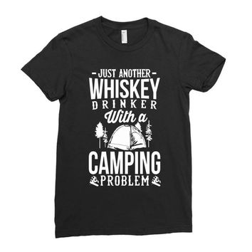 whiskey and camping! Ladies Fitted T-Shirt