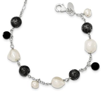 Sterling Silver 7 Inch & Fresh Water Cultured Pearl/Black Agate/Lava Rock w/ 1in ext. Necklace