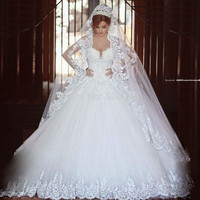 Custom Made Romantic Style Pleated Sweetheart Organza Ruffles Ivory Ball Gown Wedding Dresses 2014 New Vestido De Noiva