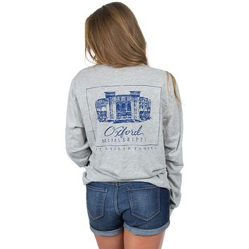 Ole Miss Long Sleeve Stadium Tee in Heather Grey by Lauren James - FINAL SALE