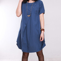 cotton pleated loose dress shirt In blue