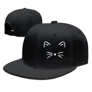 Cute Cat Kitty KittenAnimal Lover Whiskers Face Breathable Unisex Adult Womens Snapback Caps Mens Hip-hop Hat