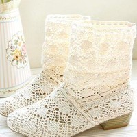 Handmade Hollow Knitted Flattie Ankle Boots for Women