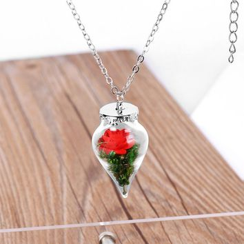 2017 New Beauty and the Beast movie Belle rose Pendant water drop necklace chain cosplay accessary