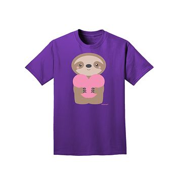 Cute Valentine Sloth Holding Heart Adult Dark T-Shirt by TooLoud