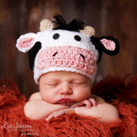 Cow Jumped Over the Moon Newborn Hat and Diaper Cover Set Animal Hat | Melondipity